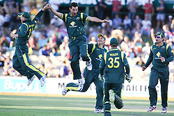 © Licensed to London News Pictures. 08/03/2012. Adelaide Oval, Australia. Australian bowler Clint McKay celebrates emphatically after getting the wicket of Sri Lankan captain Mahela Jayawardena during the One Day International cricket match final between Australia Vs Sri Lanka. Photo credit : Asanka Brendon Ratnayake/LNP
