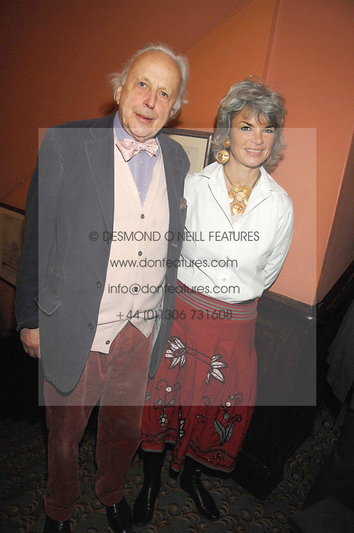SIR PEREGRINE WORSTHORNE and writer SARA WHEELER at the 2008 Oldie of The year Awards and lunch held at Simpsons in The Strand, London on 11th March 2008.<br /><br />NON EXCLUSIVE - WORLD RIGHTS