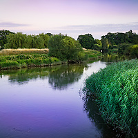 Evening rural scene overlooking the river Arun at Greatham in West Sussex, England with reeds and trees lining the riverbank