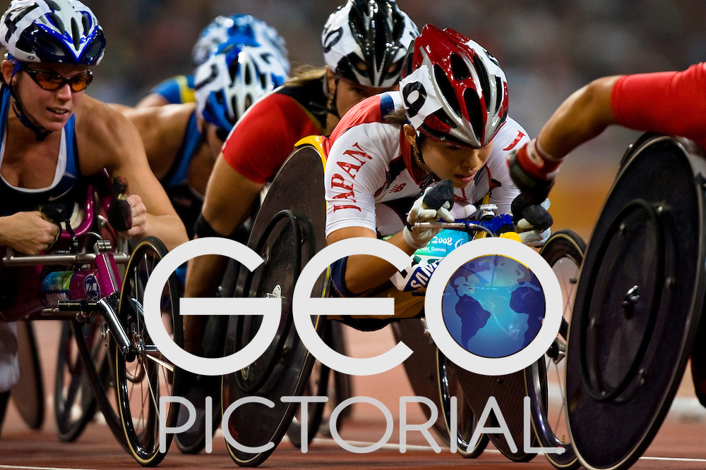 "TSUCHIDA Wakako of Japan competes in  the women's T54 5000m final during the Beijing 2008 Paralympic Games at the National ""Bird's Nest"" Stadium in Beijing China on the 8th September 2008;"