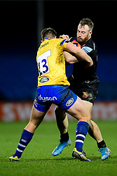 James Short of Exeter Braves is challenged by Will Butt of Bath United - Mandatory by-line: Ryan Hiscott/JMP - 16/12/2019 - RUGBY - Sandy Park - Exeter, England - Exeter Braves v Bath United - Premiership Rugby Shield