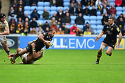 Wasps centre Gaby Lovobalavu  looks to pass during the Aviva Premiership match between Wasps and Exeter Chiefs at the Ricoh Arena, Coventry, England on 18 February 2018. Picture by Dennis Goodwin.