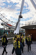 Women wearing yellow and black wings and yellow antennae walk towards the London Eye, also known as the Millennium Wheel, in London, England.