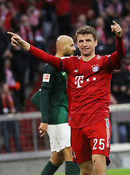 09.03.2019, Allianz Arena, Muenchen, GER, 1. FBL, FC Bayern Muenchen vs VfL Wolfsburg, 25. Runde, im Bild Thomas Müller jubelt nach seinem Tor // during the German Bundesliga 25th round match between FC Bayern Muenchen and VfL Wolfsburg at the Allianz Arena in Muenchen, Germany on 2019/03/09. EXPA Pictures © 2019, PhotoCredit: EXPA/ SM<br /> <br /> *****ATTENTION - OUT of GER*****