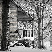 Lawrence County Historical Society's Adamson cabin during a spring snowstorm.