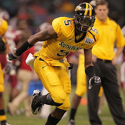 21 December 2008:  Southern Miss wide receiver DeAndre Brown (5) runs during pregame warm ups prior to kickoff of the R+L Carriers New Orleans Bowl between Southern Miss and Troy at the New Orleans Superdome in New Orleans, LA.