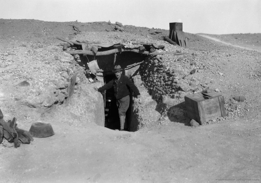 E.O.Hoppé in Mine Entrance, Coober Pedy Opal Fields, South Australia, 1930