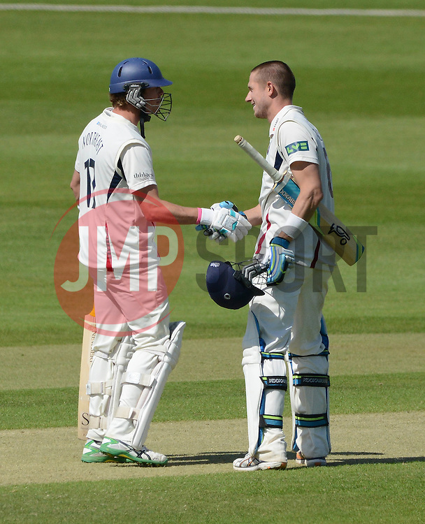 Joe Denly celebrates scoring a century against Gloucestershire County Cricket with co bats man Sam Northeast  - Photo mandatory by-line: Dougie Allward/JMP - Mobile: 07966 386802 - 21/05/2015 - SPORT - Cricket - Bristol - County Ground - Gloucestershire v Kent - LV=County Cricket
