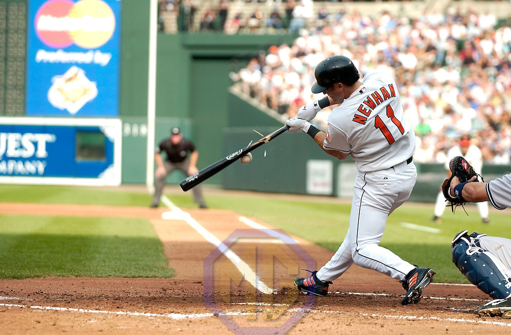11 September 2004:  David Newhan breaks his bat during a game against the New York Yankees.  The Yankees defeated the Orioles 5-2 at Camden Yards in Baltimore, Maryland