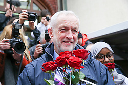 © Licensed to London News Pictures. 03/03/2019. London, UK. Muslim girls and Labour leader Jeremy Corbyn outside Finsbury Park Mosque in North London for the fourth Visit My Mosque Day. Over 250 mosques open their doors to non-Muslim guests and visitors on the fourth Visit My Mosque Day. This year the national event also encourages mosques to support Keep Britain Tidy's Great British Spring Clean campaign with many already taking part in cleaning their communities. Photo credit: Dinendra Haria/LNP