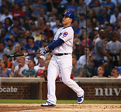 August 16, 2017 - Chicago, IL, USA - The Chicago Cubs' Anthony Rizzo watches the flight of his grand slam during the first inning against the Cincinnati Reds at Wrigley Field in Chicago on Wednesday, Aug. 16, 2017. (Credit Image: © Nuccio Dinuzzo/TNS via ZUMA Wire)