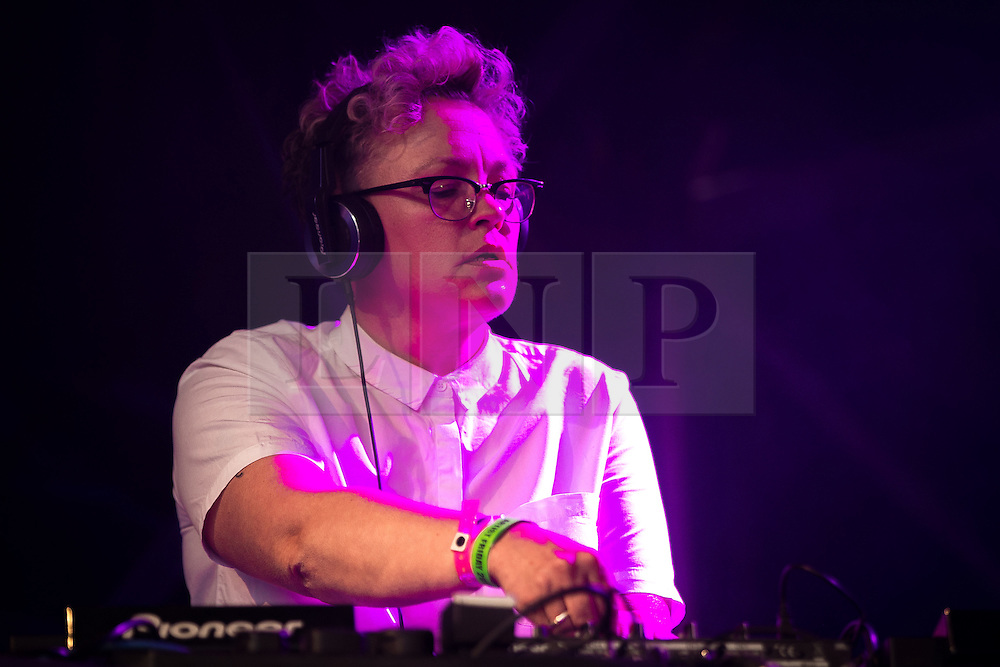 © Licensed to London News Pictures . 26/08/2016 . Manchester , UK . Screw the DJ performs on the Main Stage in Manchester's Gay Village for 2016 Manchester Gay Pride Big Weekend . Photo credit : Joel Goodman/LNP