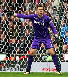 Jack Butland of Stoke City shouts - Mandatory by-line: Matt McNulty/JMP - 30/09/2017 - FOOTBALL - Bet365 Stadium - Stoke-on-Trent, England - Stoke City v Southampton - Premier League