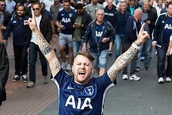 London, August 20 2017. An exuberant fan gestures as Tottenham Hotspur host their first game of the Premier League season at their temporary home ground, Wembley Stadium, hosting Chelsea FC. © Paul Davey.