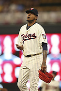 July 5, 2017 - Minneapolis, MN, USA - Minnesota Twins pitcher Ervin Santana returns to the mound after he was called for an eighth-inning balk against the Los Angeles Angels on Wednesday, July 5, 2017, at Target Field in Minneapolis. The Angels won, 2-1. (Credit Image: © Jeff Wheeler/TNS via ZUMA Wire)