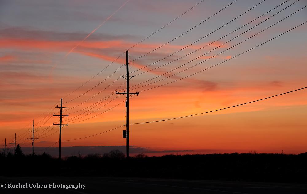 &quot;Still on the Line&quot;<br /> <br /> A lineman's Sunset!<br /> <br /> Sunset Images by Rachel Cohen