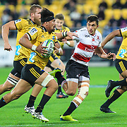 Ardie Savea runs during the Super rugby (Round 12) match played between Hurricanes  v Lions, at Westpac Stadium, Wellington, New Zealand, on 5 May 2018.  Hurricanes won 28-19.