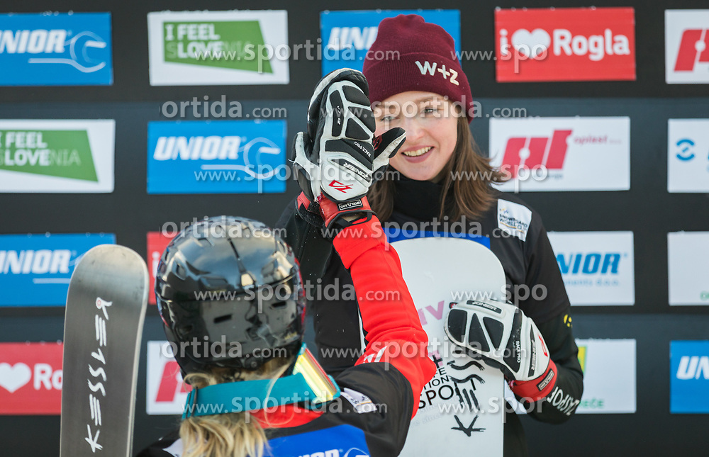 Zavarzina Alena and Schoeffmann Sabine during trophy ceremony after the woman's Snowboard giant slalom of the FIS Snowboard World Cup 2017/18 in Rogla, Slovenia, on January 21, 2018. Photo by Urban Meglic / Sportida