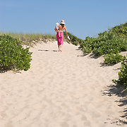 Mother and Child Heading to the Beach in East Hampton, New York