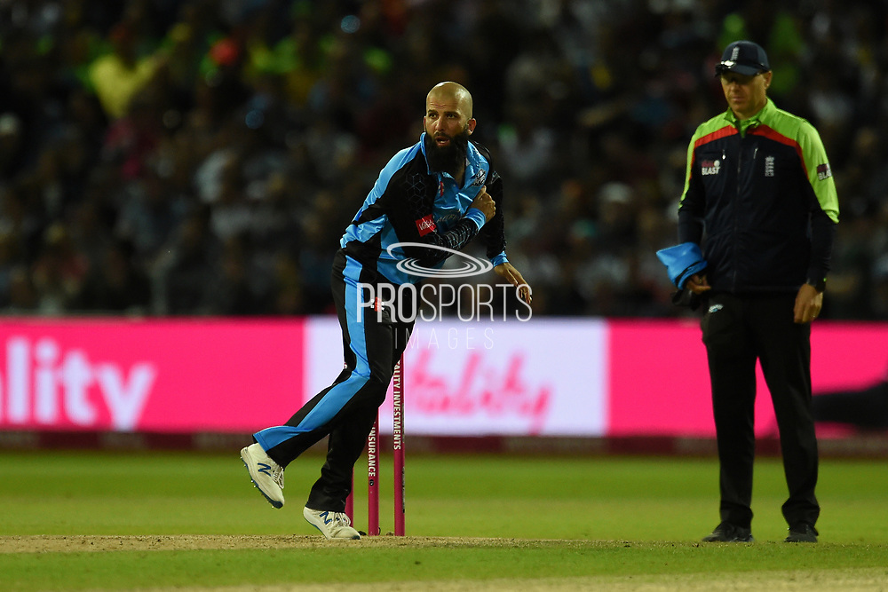Moeen Ali of Worcestershire Rapids bowling during the Vitality T20 Finals Day 2019 match between Worcestershire County Cricket Club and Essex County Cricket Club at Edgbaston, Birmingham, United Kingdom on 21 September 2019.