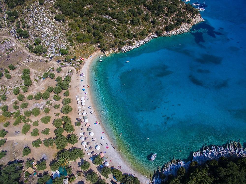 Aerial drone images of Filiatro beach, Ithaca island, Greece