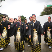 OKINAWA, JAPAN - JANUARY 8 : New adults wearing kimonos are seen walking as they enter the Shuri Castle to have their photo taken as remembrance of their friendship during the Coming of Age Day celebration Okinawa, Japan on January 8, 2017. The Coming of Age Day, one of the Japanese national holidays, is the day to celebrate young people who have reached the age of 20, the age of maturity in Japan, when they are legally permitted to smoke, drink alcohol and vote. (Photo by Richard Atrero de Guzman/NURPhoto)