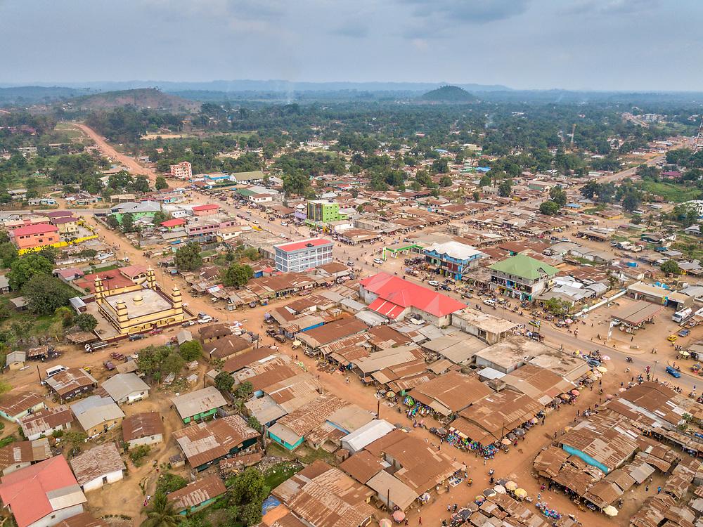 Overhead view of the market in Ganta, Liberia