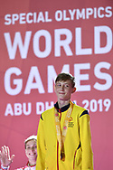 Abu Dhabi, United Arab Emirates - 2019 March 15: Sergey Bukuyev from Kazachstan took the third place and bronze medal in roller skating during Special Olympics World Games Abu Dhabi 2019 on March 15, 2019 in Abu Dhabi, United Arab Emirates. (Mandatory Credit: Photo by (c) Adam Nurkiewicz)