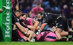 Sam Simmonds of Exeter Chiefs powers over the ;one to score a try  - Mandatory by-line: Alex Davidson/JMP - 13/01/2018 - RUGBY - Sandy Park Stadium - Exeter, England - Exeter Chiefs v Montpellier - European Rugby Champions Cup