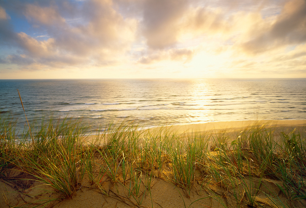 1000-1010 ~ Copyright:  George H. H. Huey ~ White Crest Beach at sunrise from the top of dunes.  Atlantic Ocean.
