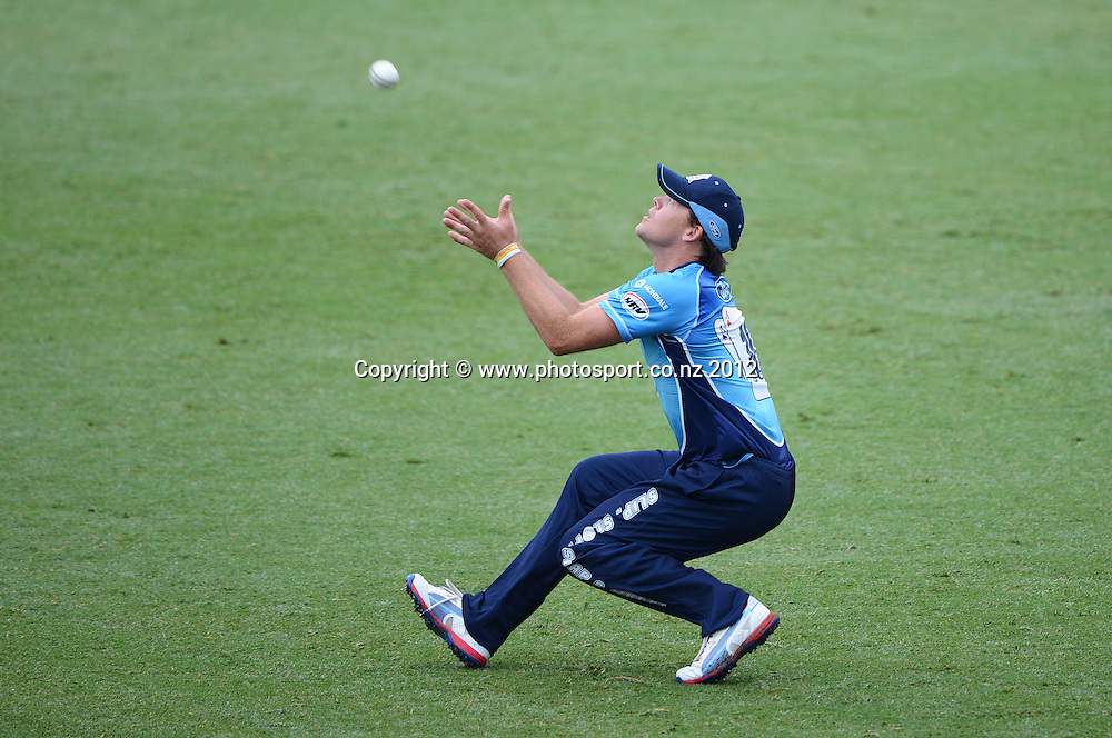 Lou Vincent drops a chance to dismiss James Foster during the HRV Cup Twenty20 Cricket match between Auckland Aces and Northern Knights at Eden Park's Outer Oval on Wednesday 26 December 2012. Photo: Andrew Cornaga/Photosport.co.nz