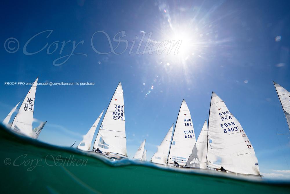 Star Class sailing in Bacardi Miami Sailing Week, day one.
