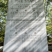 "One of the four large tablets inscribed with Teddy Roosevelt's words at the Theodore Roosevelt Memorial in Arlington, Virginia, just across the river from the National Mall. This particular column is devoted to ""The State""."