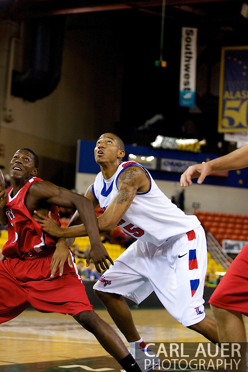 November 27, 2008: Louisiana Tech forward/center Magnum Rolle (15) fights for position in the opening round of the 2008 Great Alaska Shootout at the Sullivan Arena