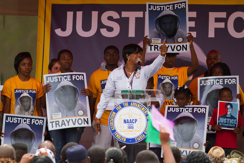March 31, 2012 - Sanford, Florida, U.S. - ROSLYN BROCK speaks at the rally in Sanford, Florida for the justice of Treyvon Martin.
