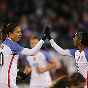Carli Lloyd, USA, celebrates a goal from team mate Crystal Dunn, (right), during the USA Vs Colombia, Women's International friendly football match at the Pratt & Whitney Stadium, East Hartford, Connecticut, USA. 6th April 2016. Photo Tim Clayton
