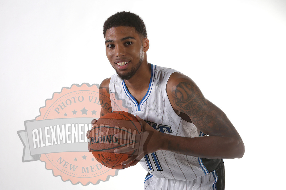 Orlando Magic guard Devyn Marble poses for the camera during the NBA Orlando Magic media day event at the Amway Center on Monday, September 29, 2014 in Orlando, Florida. (AP Photo/Alex Menendez)