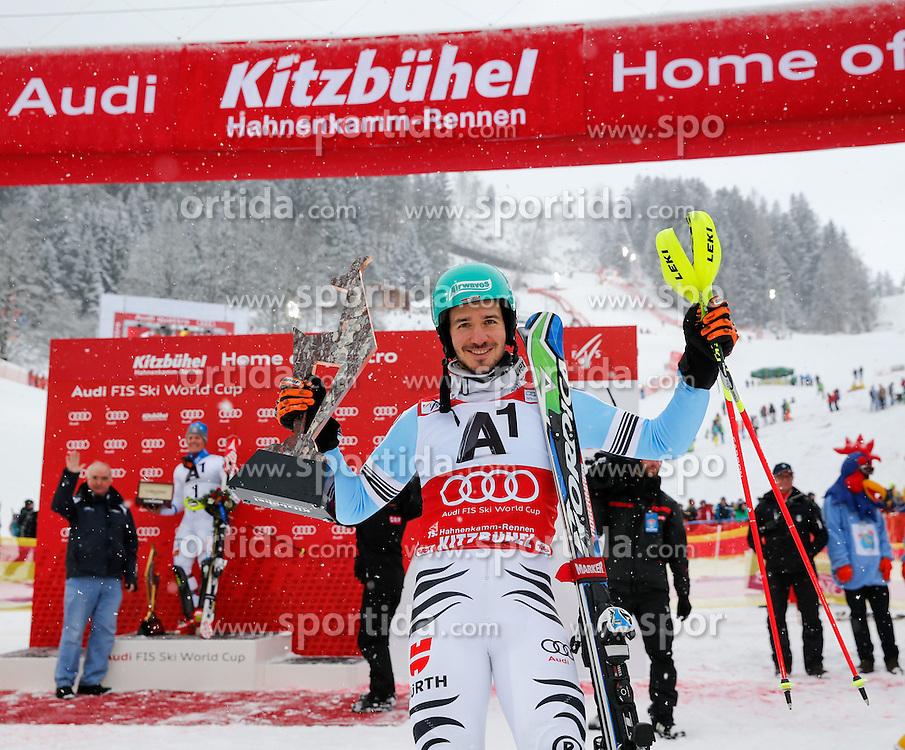 25.01.2015, Zielhaus, Kitzbuehel, AUT, FIS Ski Weltcup, Slalom, Herren, Siegerehrung, im Bild Felix Neureuther (GER, 3. Platz) // 3rd placed Felix Neureuther of Germany celebrates on podium during the award ceremony for the men's Slalom of Kitzbuehel FIS Ski Alpine World Cup at the Zielhaus in Kitzbuehel, Austria on 2015/01/25. EXPA Pictures © 2015, PhotoCredit: EXPA/ Johann Groder
