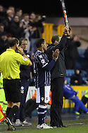 Picture by David Horn/Focus Images Ltd +44 7545 970036<br /> 28/01/2014<br /> DJ Campbell of Millwall prepares to come on during the Sky Bet Championship match at The Den, London.