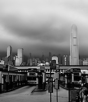 This unusual perspective of the Central District of Hong Kong gives a very different view on this usually bustling metropolis, with the buildings rising into the overcast sky and clear-cut contrasting black and whites below.