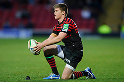 Saracens Fly-Half (#10) Owen Farrell places the ball for a penalty during the first half of the match - Photo mandatory by-line: Rogan Thomson/JMP - Tel: Mobile: 07966 386802 16/12/2012 - SPORT - RUGBY - Vicarage Road - Watford. Saracens v Munster Rugby - Heineken Cup Round 4.