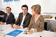 Jose Manuel Soria, Minister of Industry and  Esperanza Aguirre during the appearance of Mariano Rajoy at the PP main office to talk about the Barcenas case