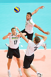 11.09.2011, O2 Arena, Prag, CZE, Europameisterschaft Volleyball Maenner, Vorrunde D, Deutschland (GER) vs Slowakei (SVK), im Bild Patrick Steuerwald (#17 GER / Warschau POL), Bjoern/Björn Andrae (#5 GER / Kemerovo RUS), Stefan Hübner/Huebner (#9 GER / Dueren GER) // during the 2011 CEV European Championship, Germany vs Slovakia at O2 Arena, Prague, 2011-09-11. EXPA Pictures © 2011, PhotoCredit: EXPA/ nph/  Kurth       ****** out of GER / CRO  / BEL ******