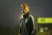 AFC Wimbledon assistant coach Neil Cox  smiling during the EFL Sky Bet League 1 match between AFC Wimbledon and Gillingham at the Cherry Red Records Stadium, Kingston, England on 12 September 2017. Photo by Matthew Redman.