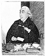 Joseph Black (1728-99) Scottish chemist. Theory of 'latent heat'. Black lecturing at Glasgow in 1787. Etching by John Kay