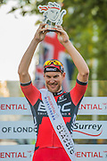 Jean Pierre Drucker (Lux - BMC Racing - pictured in Red) wins The London-Surrey Classic professional race. Prudential RideLondon a festival of cycling, with more than 95,000 cyclists, including some of the world's top professionals, participating in five separate events over the weekend of 1-2 August.