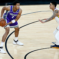 08 October 2017: Los Angeles Lakers forward Kyle Kuzma (0) defends on Sacramento Kings forward Skal Labissiere (7) during the LA Lakers 75-69 victory over the Sacramento Kings, at the T-Mobile Arena, Las Vegas, Nevada, USA.