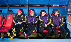 BUCHAREST, ROMANIA - Thursday, December 2, 2010: Liverpool's youthful looking substitutes bench Martin Skrtel, Nathan Eccleston, John Flanagan and Jack Robinson before the UEFA Europa League Group K match against FC Steaua Bucuresti at the Stadionul Steaua. (Pic by: David Rawcliffe/Propaganda)