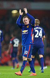 LONDON, ENGLAND - Saturday, November 22, 2014: Manchester United's Wayne Rooney celebrates after beating Arsenal 2-1 during the Premier League match at the Emirates Stadium. (Pic by David Rawcliffe/Propaganda)