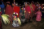 Guatemala. Holy week; Easter celebrations,  children procession  with angels   /    A la Procession des enfants le Jeudi Saint a Zunil , Les enfants  sont habilles en anges  Zunil  Guatemala